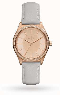 Armani Exchange Cinghia di cuoio grigio Womans oro rosa AX5444