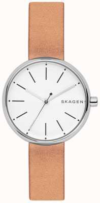 Skagen Quadrante bianco in pelle marrone chiaro signatur womans SKW2594