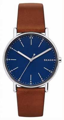 Skagen Quadrante blu della cinghia di cuoio marrone della signora degli uomini SKW6355