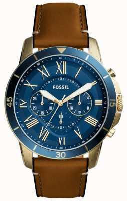 Fossil concessione Mens cinturino in pelle marrone chiaro blu cronografo FS5268