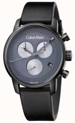 Calvin Klein città Mens cuoio nero crono grigio K2G177C3