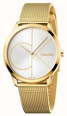 Calvin Klein Orologio da uomo minimal | cinturino in acciaio inossidabile con maglie dorate | K3M21526