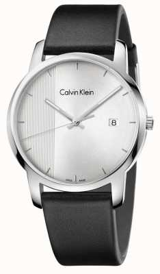 Calvin Klein città Mens quadrante argentato in pelle nera K2G2G1CX