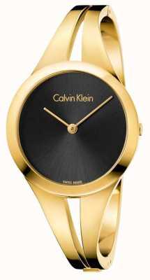 Calvin Klein Quadrante nero braccialetto in oro doppio womans K7W2M511