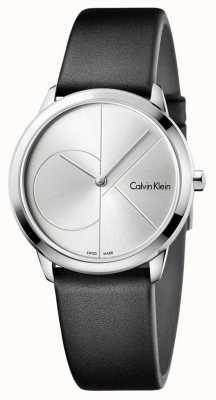Calvin Klein Quadrante argentato in pelle nera minima K3M221CY