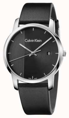 Calvin Klein città Mens pelle nera quadrante nero K2G2G1C1