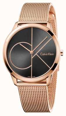 Calvin Klein Il quadrante nero minimo della maglia di oro rosa del Mens K3M21621