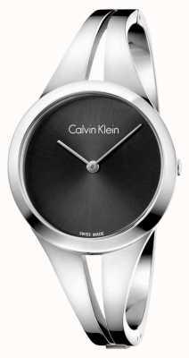Calvin Klein Quadrante nero in argento bracciale in acciaio Womans K7W2S111