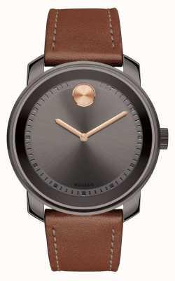 Movado Grigio grigio cinturino in pelle marrone mensola grigia 3600378