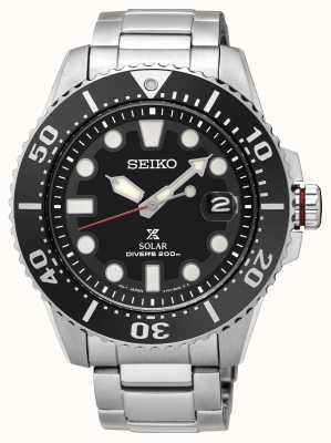 Seiko | prospex | solare | subacqueo | braccialetto di metallo | quadrante nero | SNE437P1