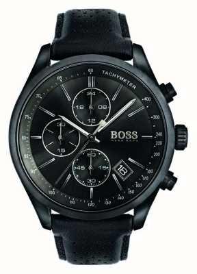 Hugo Boss Mens Grand Prix cronografo cinturino in pelle nera quadrante nero 1513474