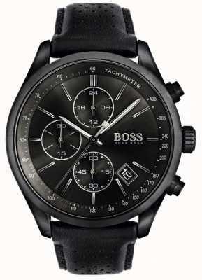 Boss Quadrante nero con cinturino in pelle nera cronografo da uomo grand prix 1513474