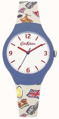 Cath Kidston Cinturino in silicone grafico britannico bianco Womans CKL026CU