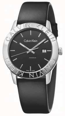 Calvin Klein pelle nera quadrante nero Womans costante K7Q211C1