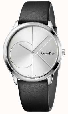 Calvin Klein Orologio di cuoio nero minimo in argento K3M211CY