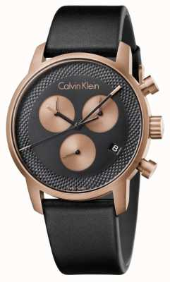 Calvin Klein Mens città cronografo quadrante blu in pelle nera K2G17TC1