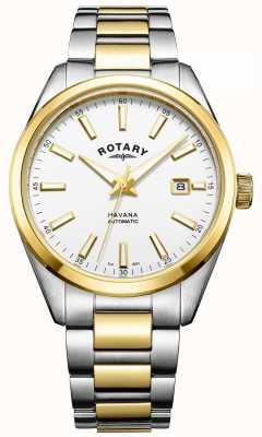 Rotary Mens havana automatico | cinturino in acciaio bicolore | GB05078/02