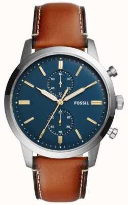 Fossil Cronografo uomo da città in pelle marrone FS5279