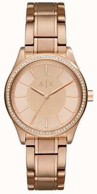 Armani Exchange Womans acciaio rosa orologio vestito d'oro AX5442