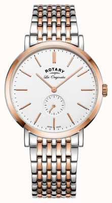 Rotary Mens Windsor quadrante bianco due toni GB90191/01