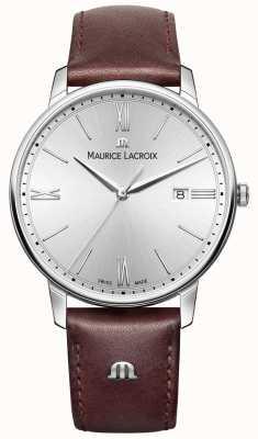 Maurice Lacroix in pelle marrone quadrante argentato cinturino Mens Eliros EL1118-SS001-110-1