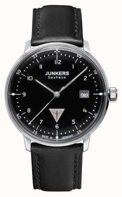 Junkers Mens quadrante nero cinturino in pelle nera Bauhaus 6046-2