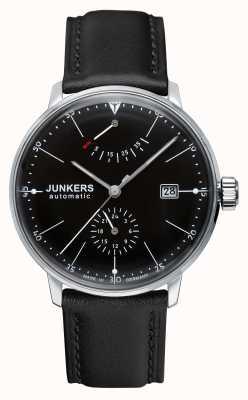 Junkers Mens cinturino in pelle nera quadrante nero Bauhaus automatica 6060-2
