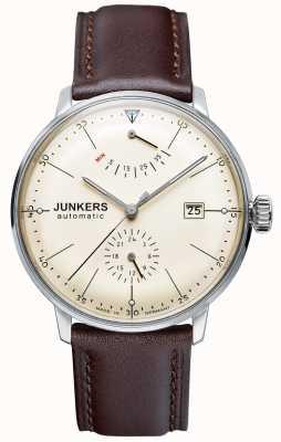 Junkers Mens cinturino in pelle marrone quadrante beige Bauhaus automatica 6060-5