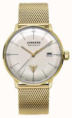 Junkers Mens tono Bauhaus oro maglia di acciaio inossidabile quadrante beige 6072M-5
