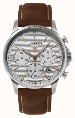 Junkers Mens Tante Ju cronografo in pelle marrone quadrante argentato cinturino 6878-4
