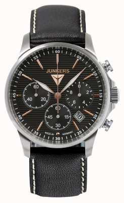 Junkers Mens Tante Ju cronografo quadrante nero cinturino in pelle nera 6878-5