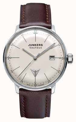 Junkers Mens cinturino in pelle marrone quadrante beige Bauhaus 6070-5