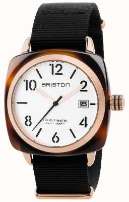 Briston Mens clubmaster classico cinturino in tessuto nero quadrante bianco 17240.PRA.T.2.NB