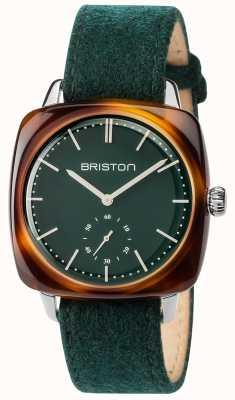 Briston Quadrante verde della cinghia di tessuto verde dell'annata clubmaster 17440.SA.TV.16.LFBG