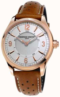 Frederique Constant Orologio smartwatch da uomo con cinturino in pelle marrone bluetooth FC-282AS5B4