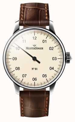 MeisterSinger Quadrante color crema meccanico con cinturino in pelle marrone AM3303