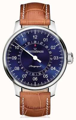 MeisterSinger Mens Classic Plus perigraph quadrante blu cinturino in pelle marrone AM1008