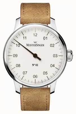 MeisterSinger Uomo n. 1 classica sellita a carica manuale bianca AM3301