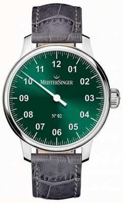 MeisterSinger Mens non classico. 2 mano verde raggera ferita AM6609N