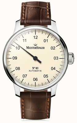 MeisterSinger Mens non classico. 3 avorio automatica AM903