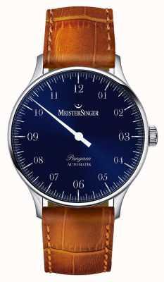 MeisterSinger Mens classico Pangea blu solarizzazione automatica PM908