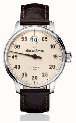MeisterSinger classico Mens più salthora meta avorio automatica SAM903