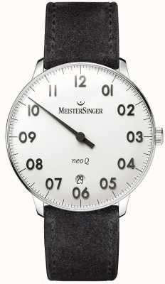 MeisterSinger modulo Mens e lo stile neo acciaio inox q e camoscio nero NQ901N