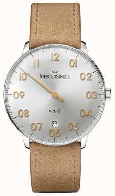 MeisterSinger forma e lo stile Mens argento sunburst neo q quarzo NQ901GN