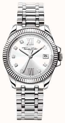 Thomas Sabo Quadrante argentato braccialetto divino in acciaio inossidabile donna WA0252-201-201-33