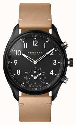 Kronaby Cassa in pvd nero bluetooth apex 43mm / smartwatch in pelle beige A1000-0730