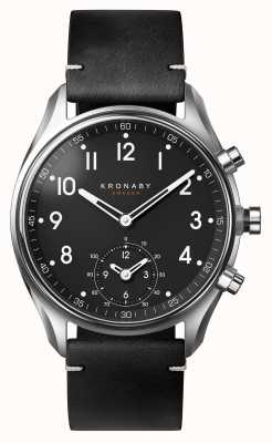Kronaby Smartwatch con cinturino in pelle nera bluetooth apex da 43 mm A1000-1399