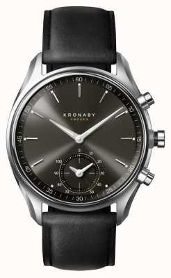 Kronaby 43mm sekel bluetooth quadrante nero / cinturino in pelle smartwatch A1000-0718