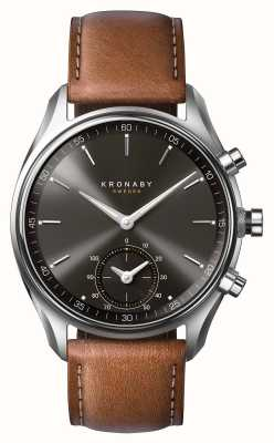 Kronaby 43mm sekel bluetooth in pelle marrone quadrante nero a1000-0719 S0719/1