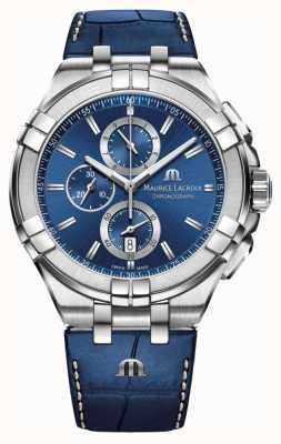 Maurice Lacroix Cinturino in pelle blu cronografo blu aikon uomo AI1018-SS001-430-1
